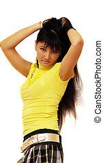 cabelo, pretas, estilo, senhora