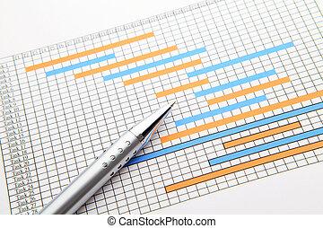 Gantt chart and pen