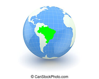 Globe. 3d. Brazil. Elements of this image furnished by NASA