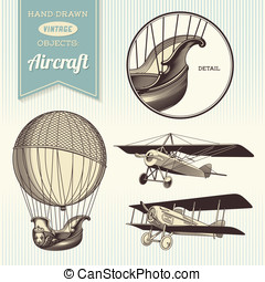 hand-drawn vintage aircraft illustrations - hot air balloon,...