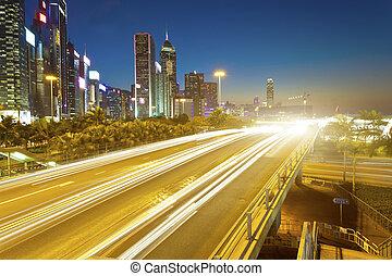Traffic in downtown Hong Kong at night
