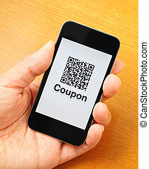 QR code on mobile display