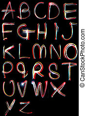 alphabet light neon writing long exposure - the letters,...