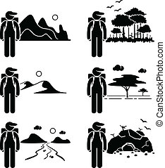 Explorer Adventure Traveller - A set of human pictogram...