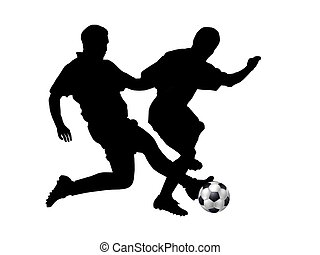silhouettes of soccer players