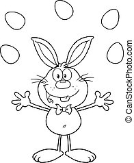 Outlined Rabbit Juggling With Eggs - Black And White Cute...