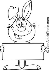 Outlined Rabbit Holding A Banner - Black And White Funny...
