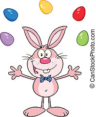 Pink Rabbit Juggling With Eggs