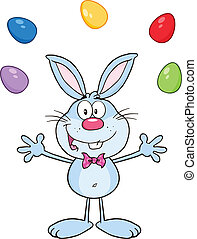 Blue Rabbit Juggling With Eggs