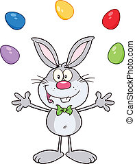 Gray Rabbit With Easter Eggs