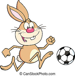 Rabbit Playing With Soccer Ball - Cute Rabbit Cartoon...