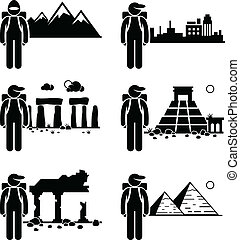Explorer Adventure Traveler - A set of human pictogram...