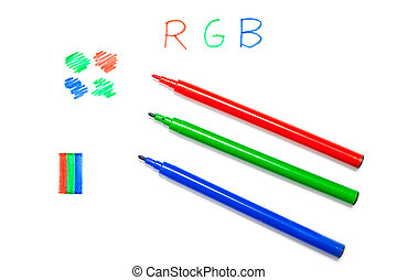 RGB color in pens, written and drawn - Red, blue, green pens...