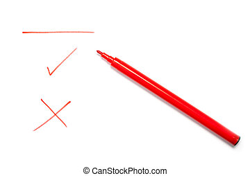 Red pen, yes, no and line written - Red pen with a line,...