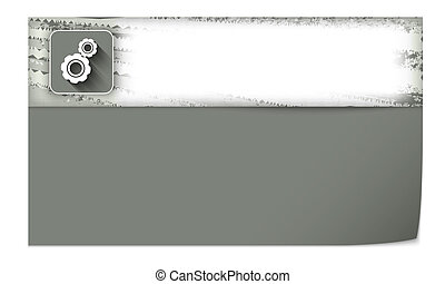 set of two blank banners with cogwheels