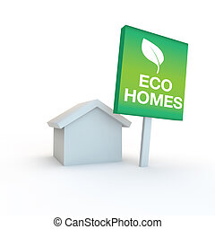 eco friendly sustainable housing and homes - green sign with...