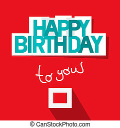 Happy Birthday Template on Red Background