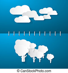Paper Clouds and Trees on Blue Notebook Background