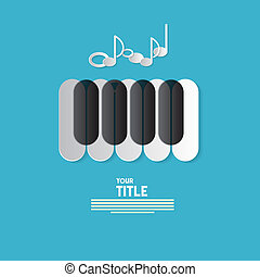 Piano Keyboard and Notes on Blue Abstract Music Background