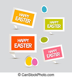 Paper Vector Easter Eggs, Labels, Tags Set
