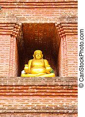 Golden Buddha Sangkhajan. Sangkhajan. Thep god of fortune wealth money Buddha statue in the temple.