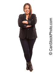 Large woman - A Happy Large business woman - isolated over...