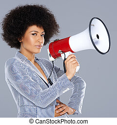 Stylish African American woman with a megaphone - Stylish...