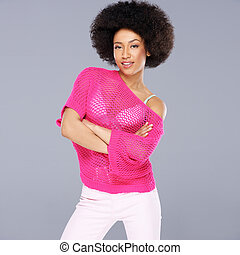 Sexy young African American woman with a frizzy afro...