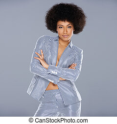 Beautiful glamorous Afro-American woman in a stylish...