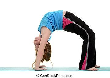 little girl doing gymnastics bridge