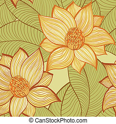 Background with magnolia flowers - Seamless hand drawn retro...