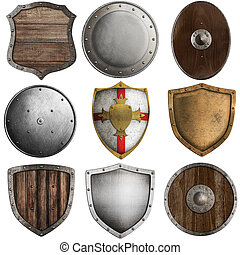 medieval shields collection 2 isolated on white