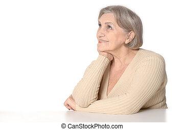 Elderly woman portrait - Senior woman portrait on a white...