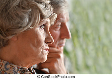Portrait of an elder couple - Close-up portrait of an elder...