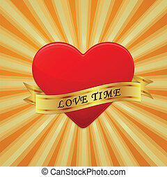 Heart with ribbon and phrase Love Time.