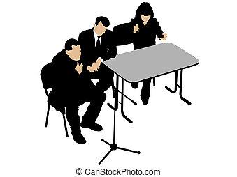 Meeting at big table