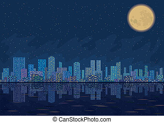 Night city landscape - Urban background, night cityscape...