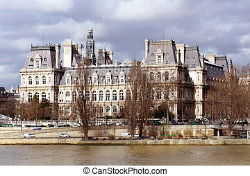 View on in the City Hall of Paris Hotel de Ville from Quay...