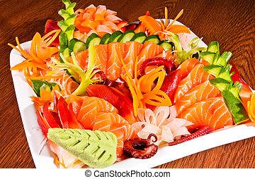 mezclado, sashimi, blanco, placa, madera, tabla