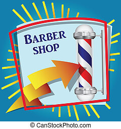 Barber shop - Cool sticker for barbershop with symbolic red...