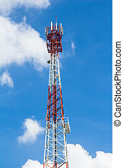Telecommunication mast with microwave link and TV transmitter antennas over a blue sky.