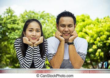 Lovely couple smile in relax scene4