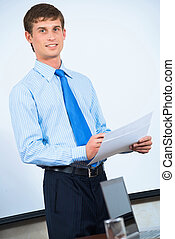 businessman in the office with business papers