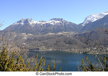 Overview of Annecy lake, Savoy, France - Large view of...
