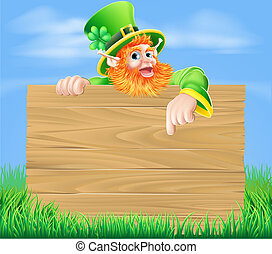 Leprechaun and Wooden Sign in Sprin - Lleprechaun cartoon...