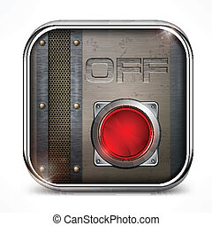 Off switch button - Metal square icon with off switch...