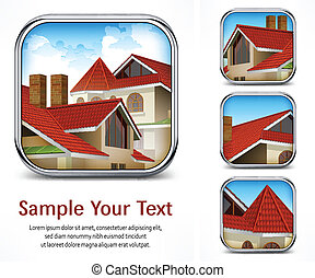 Icon set with red tile roof - Square icon set with red tile...