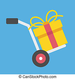 Vector Hand Truck and Gift Box Icon Gift with Delivery...