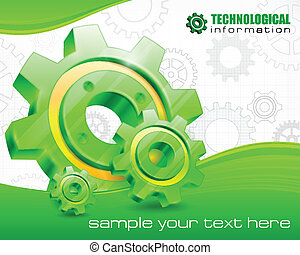 Gears on technical background and text, mechanical vector...