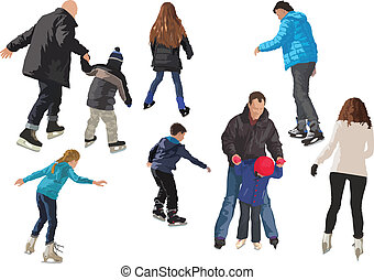 Skating on ice few people color vector illustration